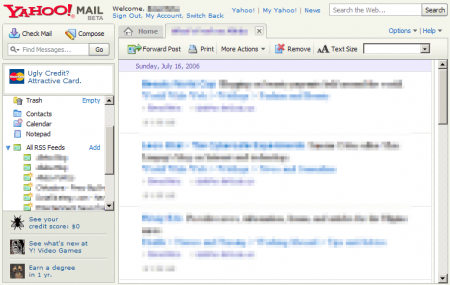 yahoo beta interface rss
